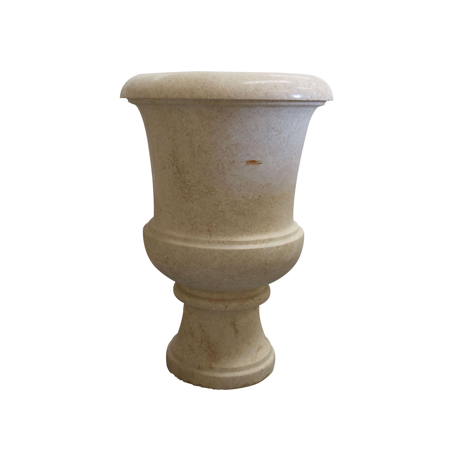 Light Yellow Stone Garden Urn